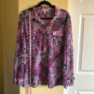 Dana Buchman XL Botton Down Abstract Floral